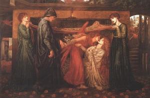 """""""El sueño de Dante ante la muerte de su amada"""" (Dante Gabriel Rossetti, 1871)."""