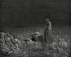 Dante habla con los traidores, que se encuentran presos en el hielo.