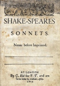 Portada de la primera edición de los Sonetos de William Shakespeare, de 1609.