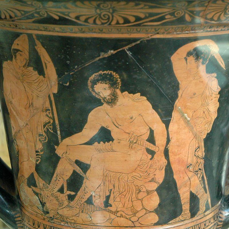 Odiseo y Tiresias en el Hades