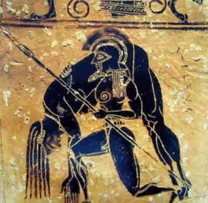 Ayax cargando el cadaver de Aquiles