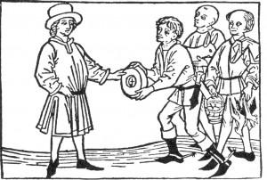 Campesinos entregan el tributo a su señor (Austria, siglo XV). Fuente: Bildarchiv der Österreichischen Nationalbibliothek, Viena, vía Wikimedia Commons.