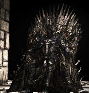 Sauron sentado en el Trono de Hierro